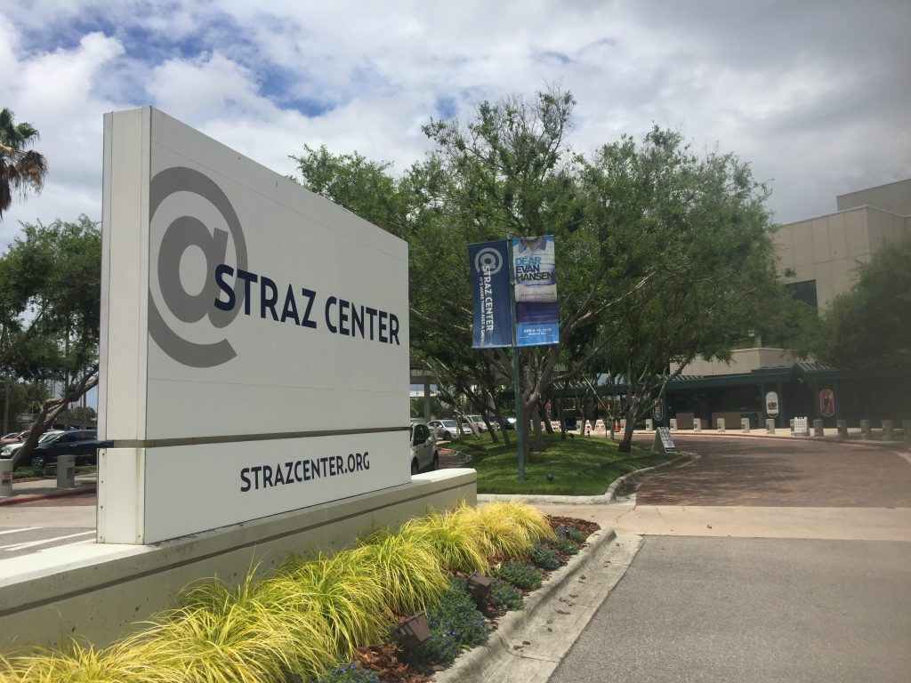 Letters spelling out David Straz Jr. rise in giant type all around Tampa's downtown performing arts center, but his campaign says it needs to spend money to boost Straz's name recognition among voters as a candidate for mayor. [DENNIS JOYCE | Times]