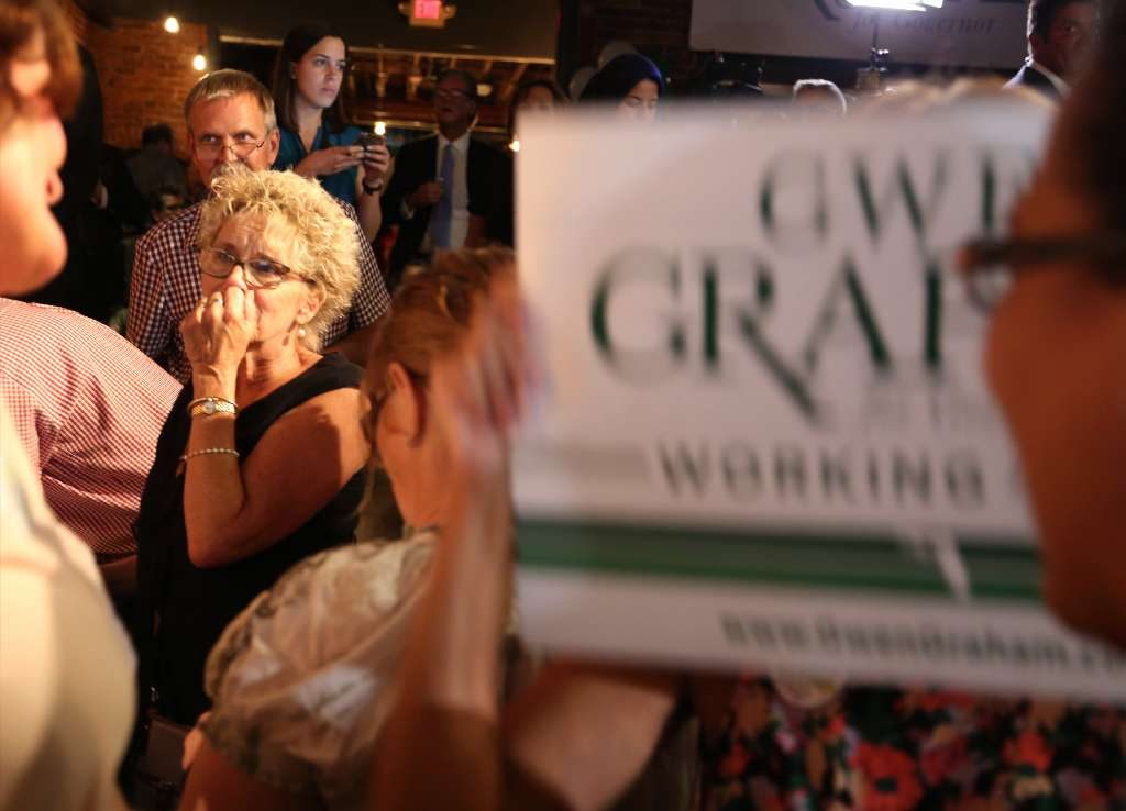 Nancy Gavrish, Melbourne,, left, reacts at The Social, Orlando, as vote totals show candidate Andrew Gillum leading candidate Gwen Graham in the Democratic primary for Florida Governor. [SCOTT KEELER | Tampa Bay Times]