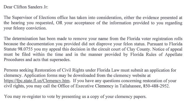 The letter Clifton Sanders Jr. received in August that took away his right to vote nearly 30 years later.