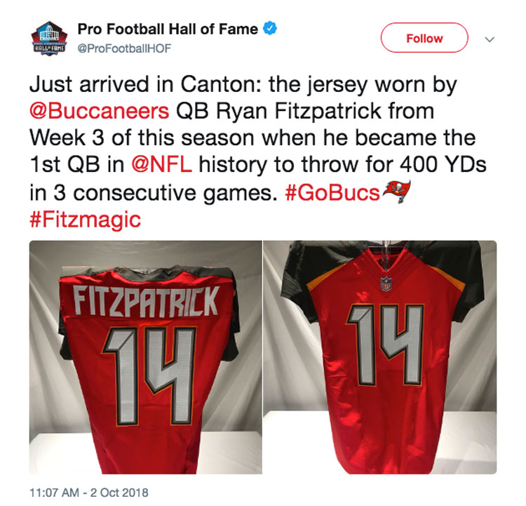 new concept 02b2a c192e Ryan Fitzpatrick's jersey takes up residence in the Pro ...