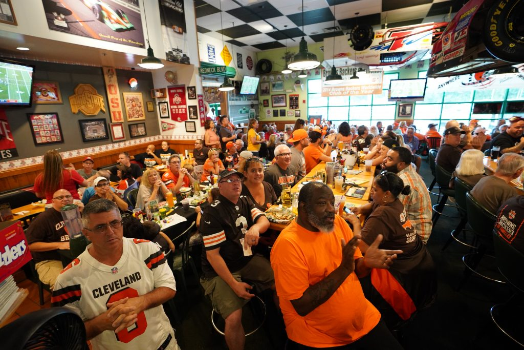 Members of the Browns Backers of Pinellas gather at Quaker Steak & Lube in Clearwater as they do most game days to watch their beloved Cleveland Browns play. [LUIS SANTANA | Times]