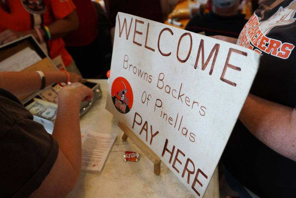 Members of the Browns Backers of Pinellas gather at Quaker Steak & Lube in Clearwater whenever the Browns play. [LUIS SANTANA | Times]