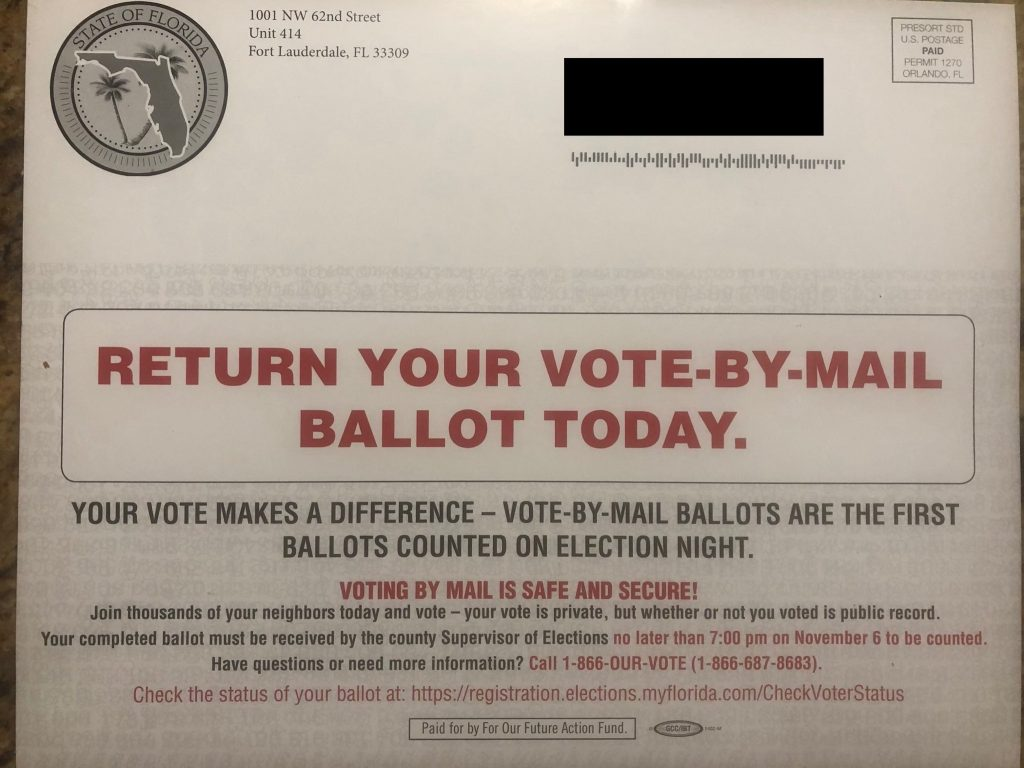 A postcard sent by a Democratic PAC to mail-in voters in Florida. [Photo courtesy Jonathan Goldfarb]