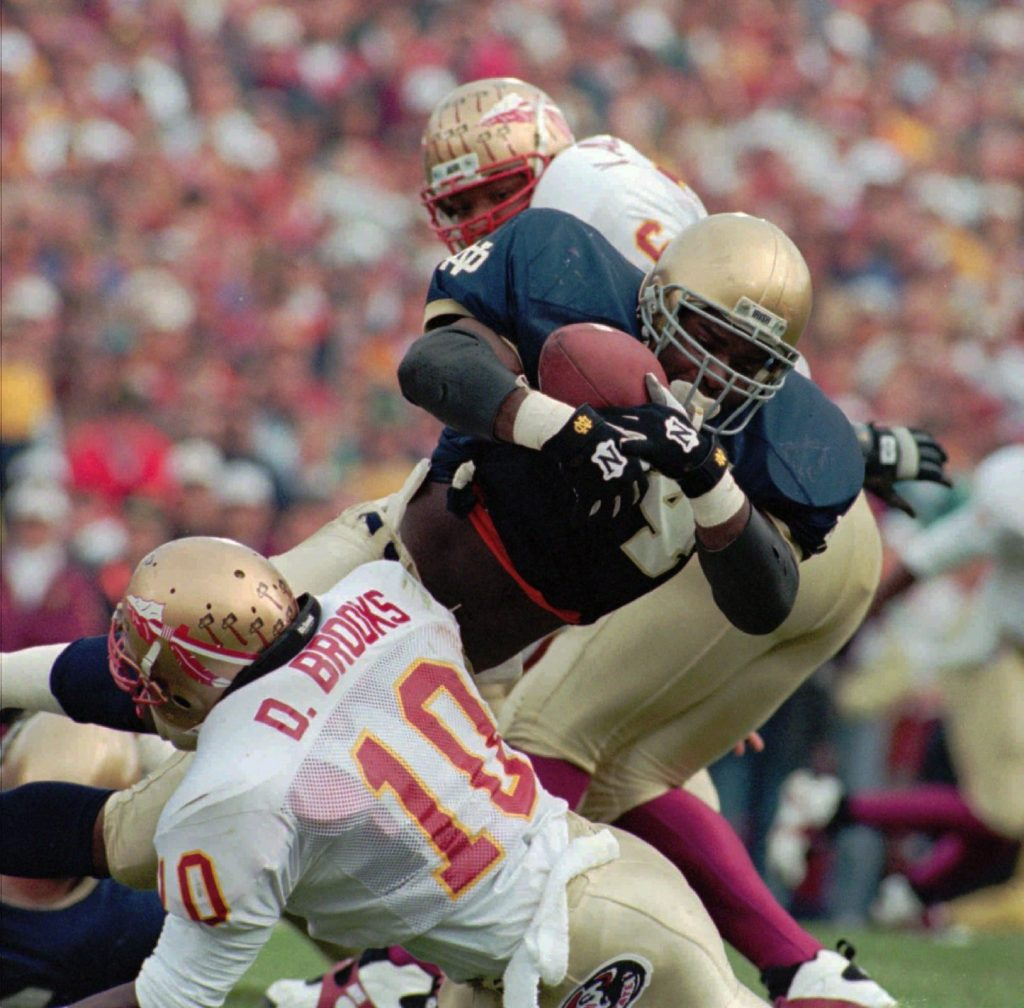 Florida State's Derrick Brooks played in the 1993 Notre Dame classic despite an injured ankle. [ TIMES FILE ]