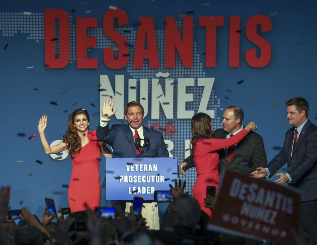 CHRIS URSO | Times Florida Governor elect Ron DeSantis waves to supporters while flanked by his wife Casey, left, and Lt. Governor elect Jeanette Nunez after thanking the crowd Tuesday, Nov. 6, 2018 in Orlando.