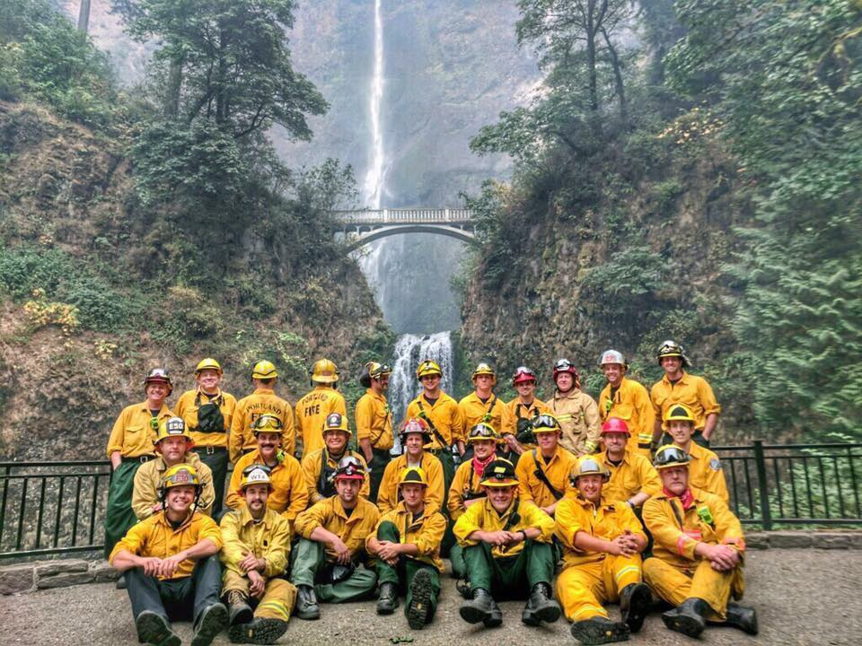 Portland firefighters at Multnomah Falls on Sept. 6, 2017. (Multnomah County Search and Rescue)