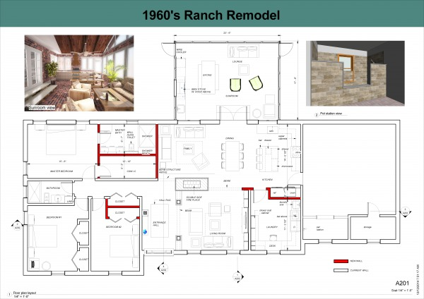 Entire floor designed by libra k 1960 39 s ranch remodel for 1960 s home plans