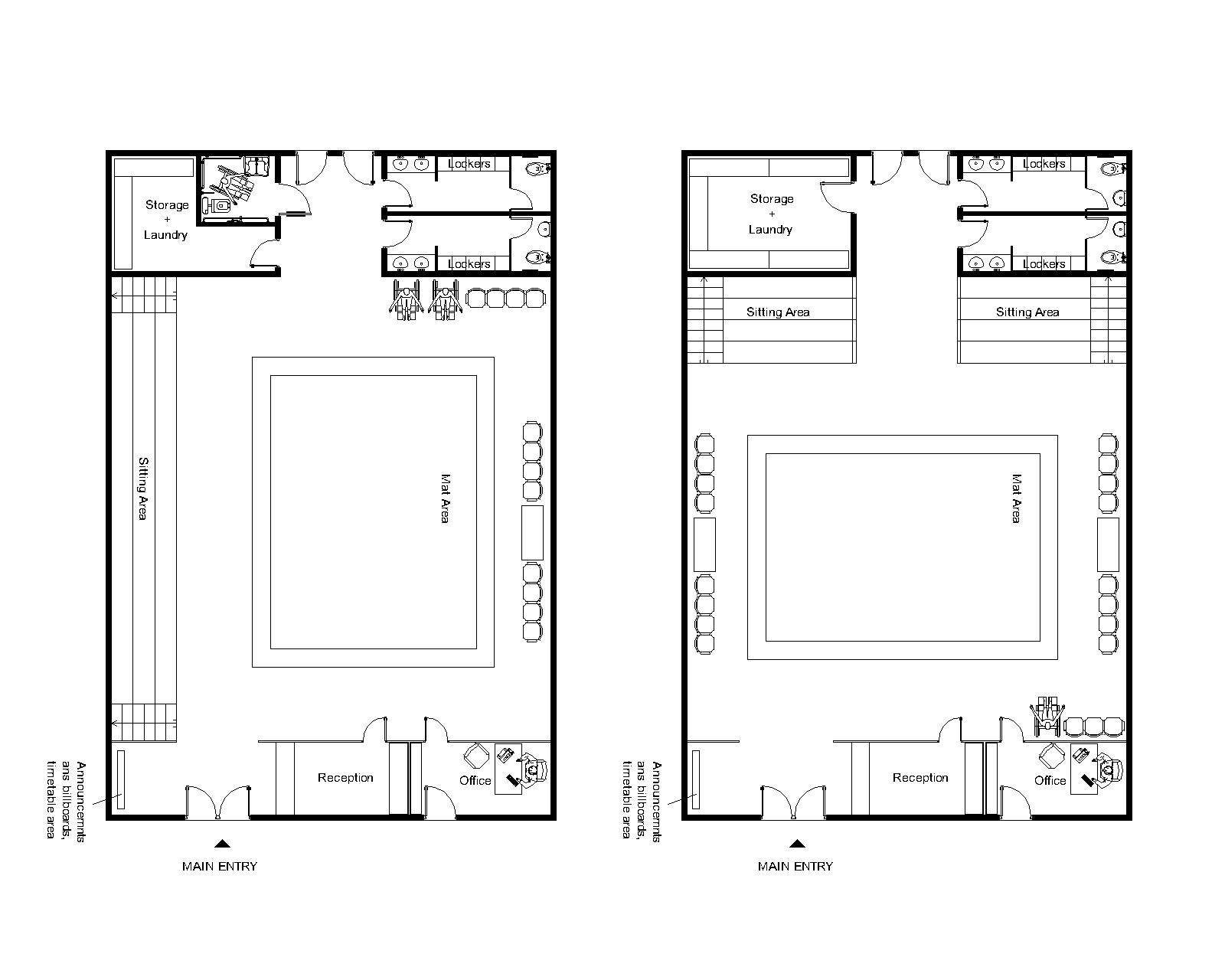 Gym design designed by elda p brazilian jiu jitsu for Gym blueprints