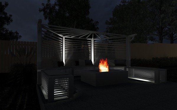 Image Fire pit with trellis