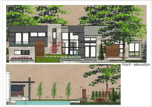 Front yard back yard designed by fragmenti design studio for Pool design kitchener