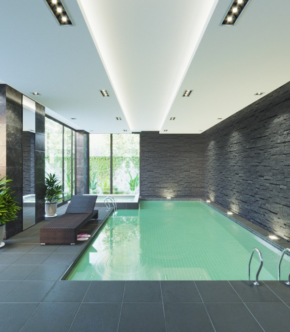 Private indoor pool  Other Designed by Olumide Daniel - Small private indoor pool/spa ...