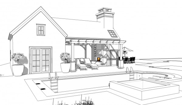 Image Craftsman pool house a...