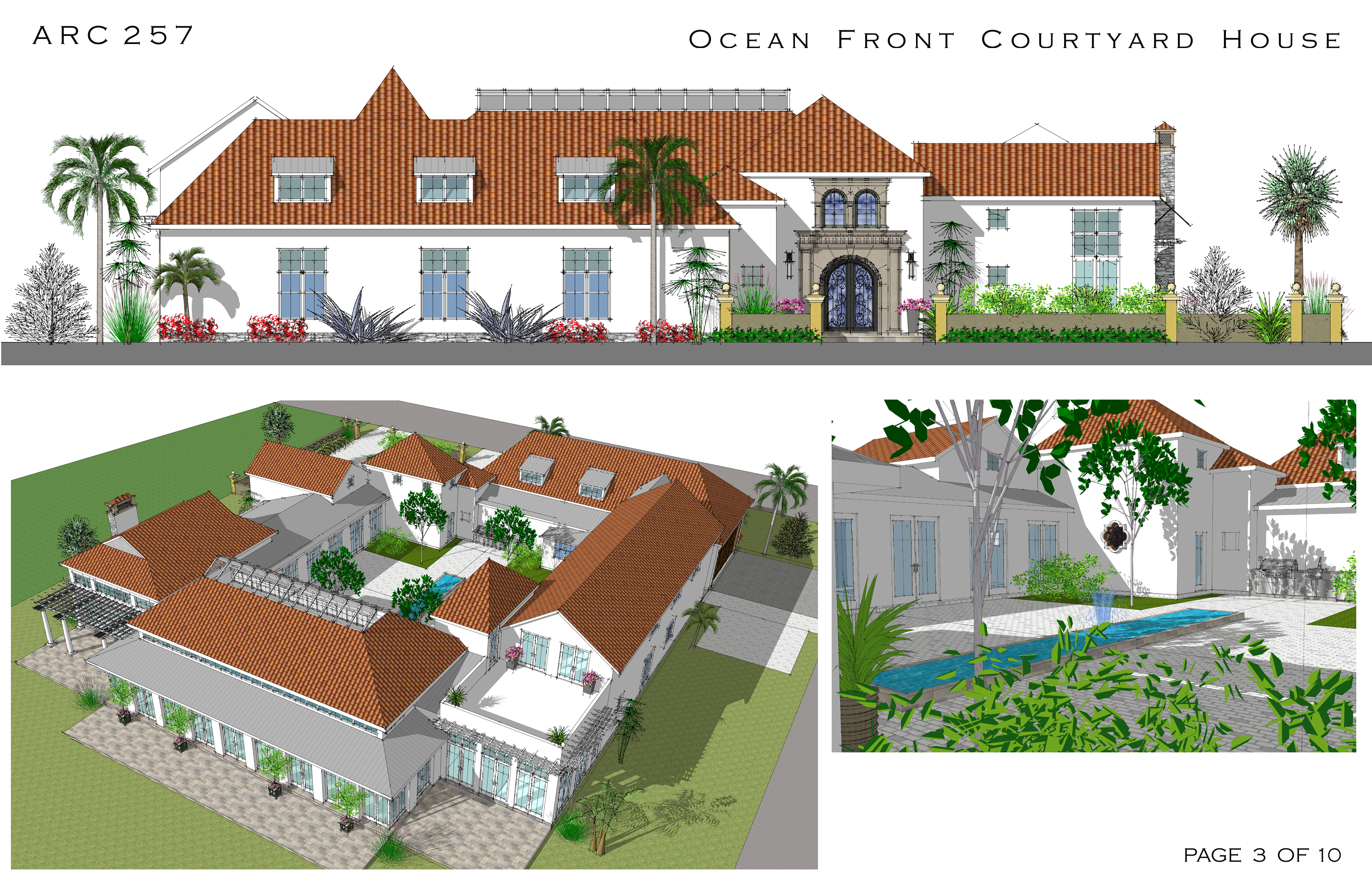 Large home plans designed by arcadia design oceanfront for Courtyard in front of house