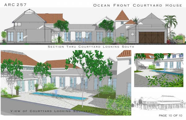 Multi story family homes designed by arcadia design for Multi family house plans with courtyard