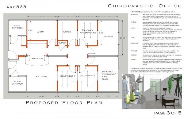 Healthcare designed by arcadia design chiropractic for Chiropractic office layout examples