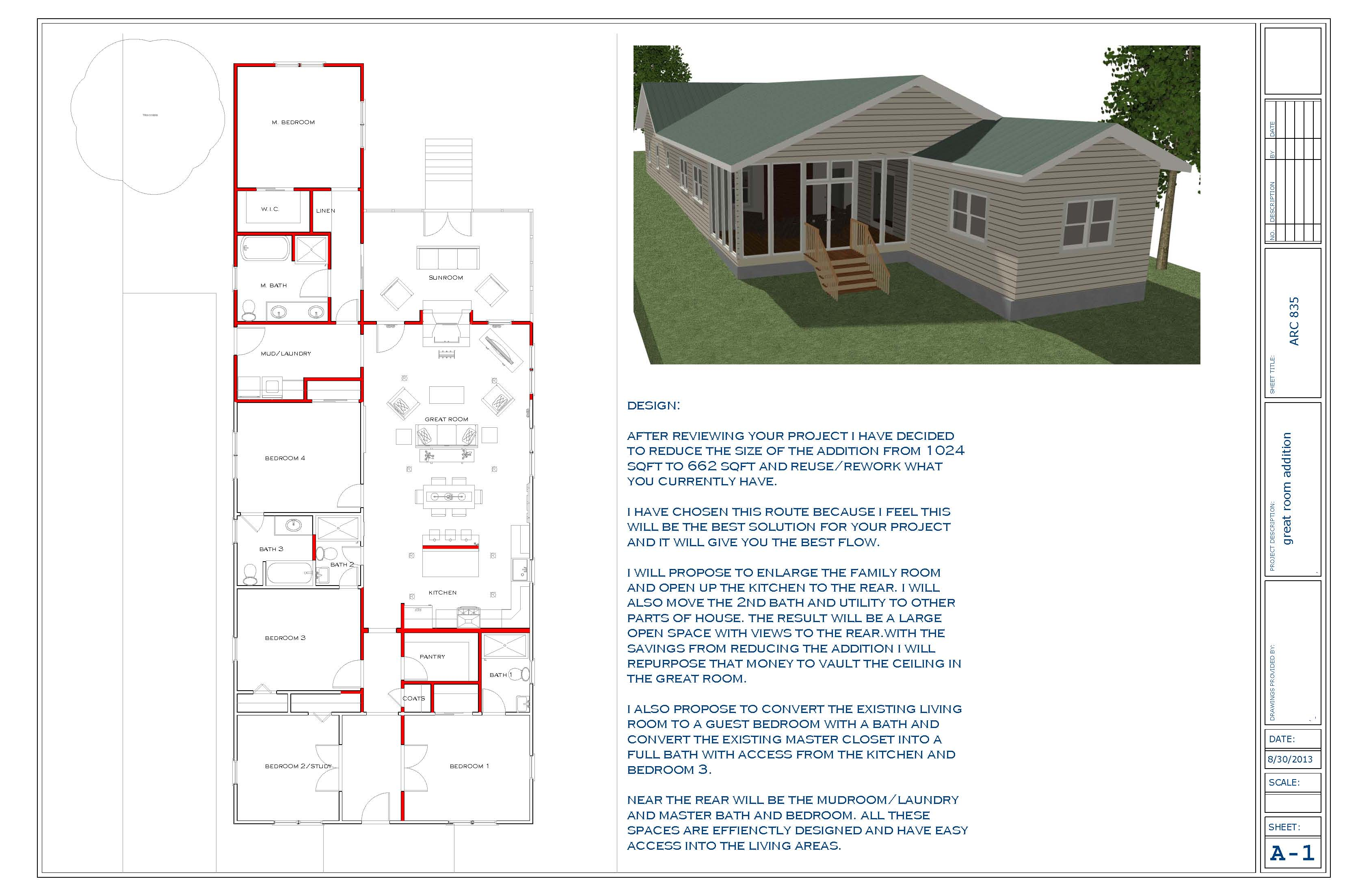 Floor plans designed by touyer lee great room addition for Addition room design