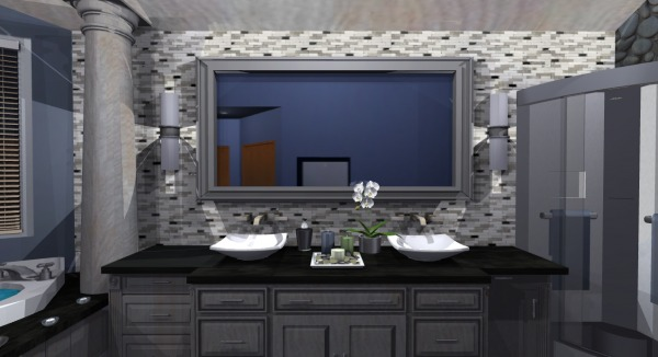Image A tiled backsplash is ...