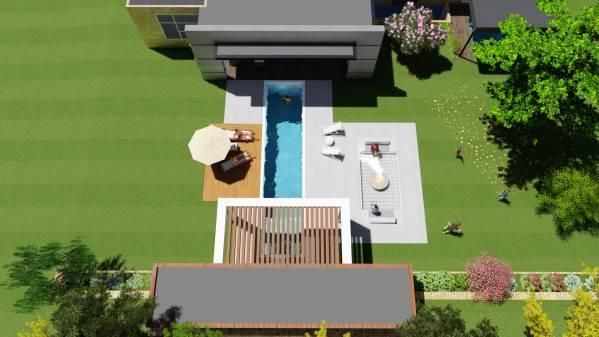 Front yard back yard designed by libra k backyard for Pool design kitchener