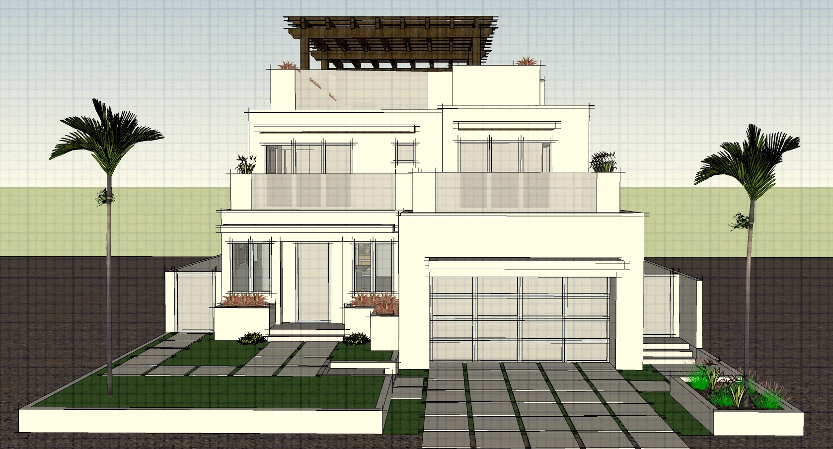 Front yard back yard design project designed by mfon for Beach house plans rooftop deck