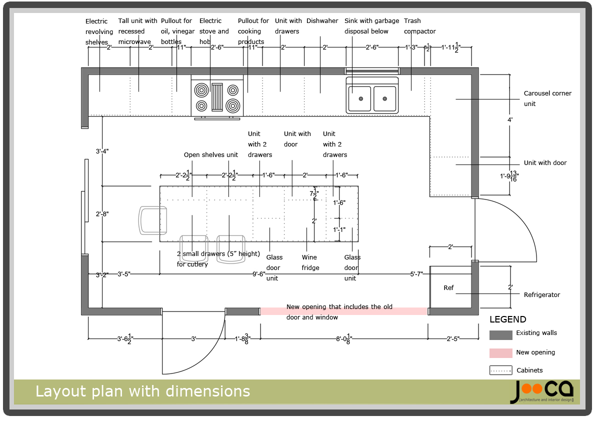 Kitchen layouts dimension interior home page for Kitchen layout guide