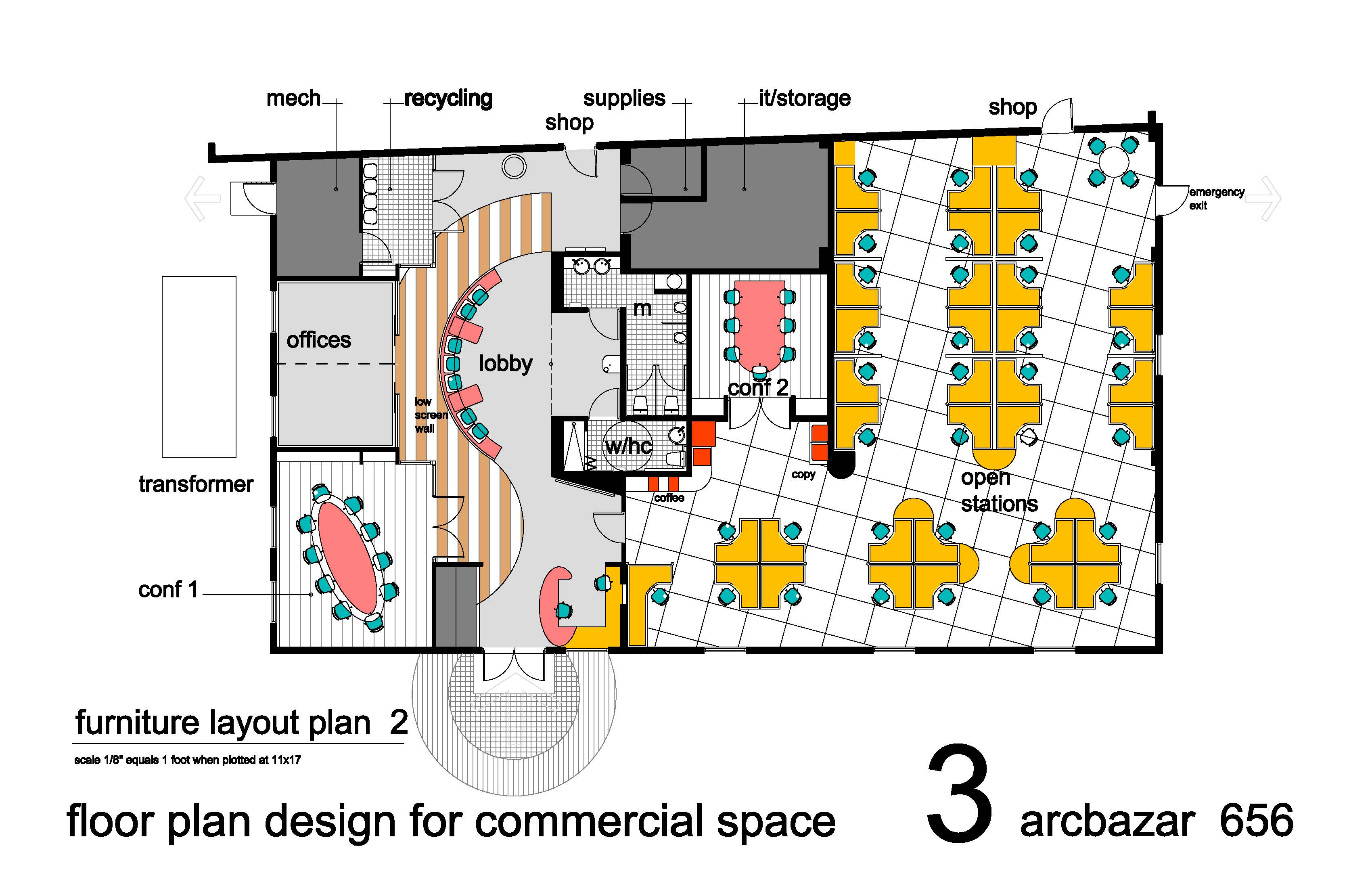 Industrial buildings project designed by fournier for Commercial floor plan designer