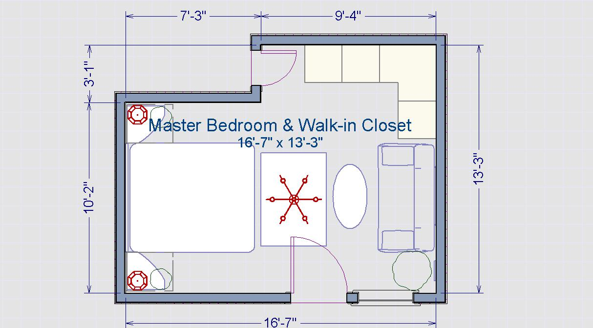 Master Bedroom with WalkIn Closet Layout