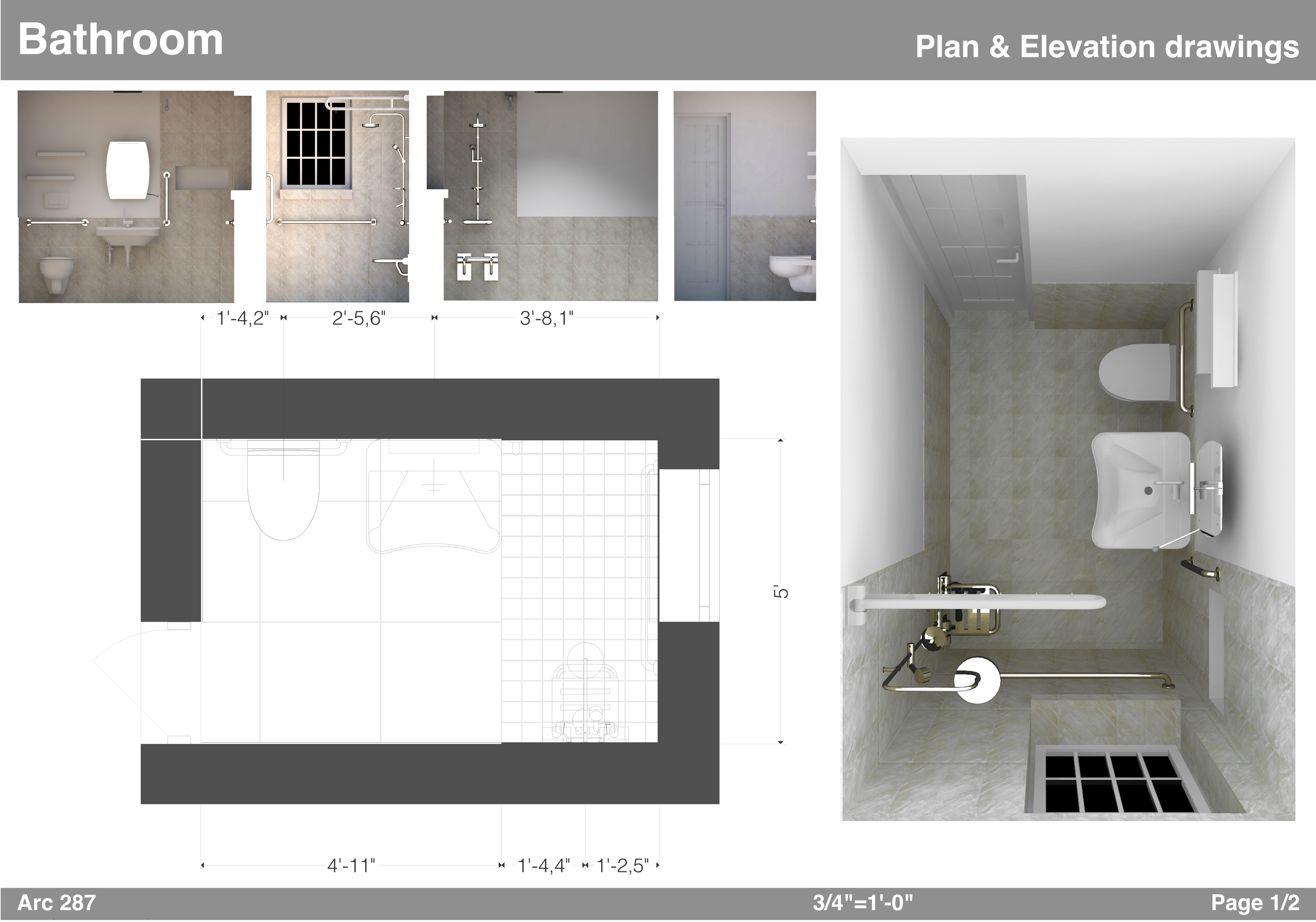 Bathroom design project designed by am architects for Bathroom project plan