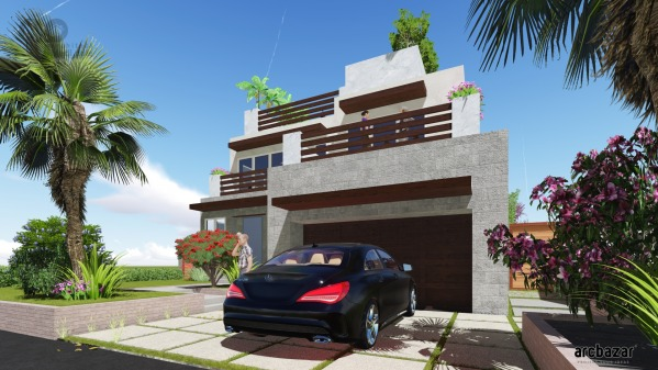 Image Modern Beach Home Land...