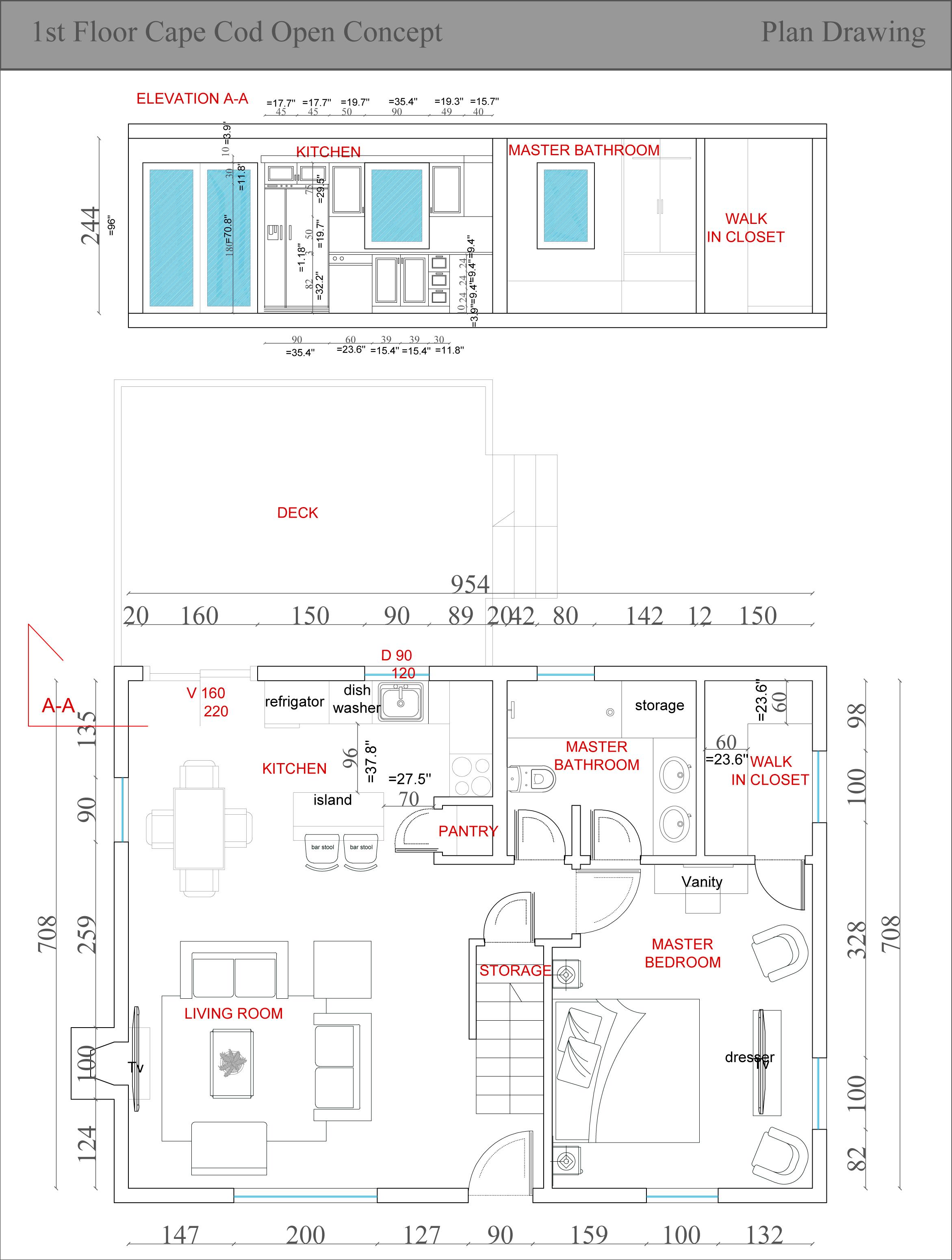 Entire floor design project designed by fatjona fatjona for Open concept cape cod house plans