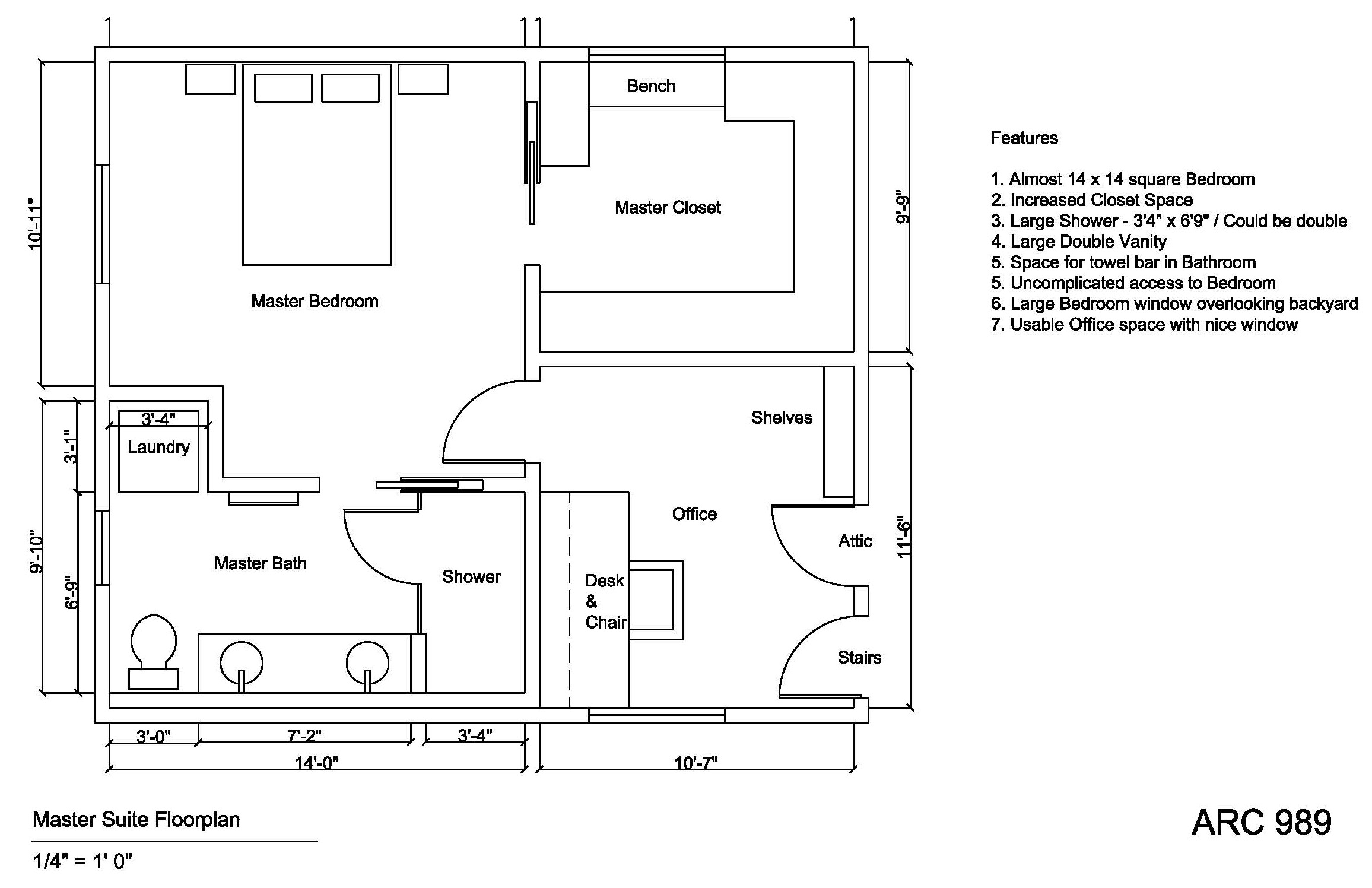 Attic conversion designed by margaret holden master for Master bedroom layout