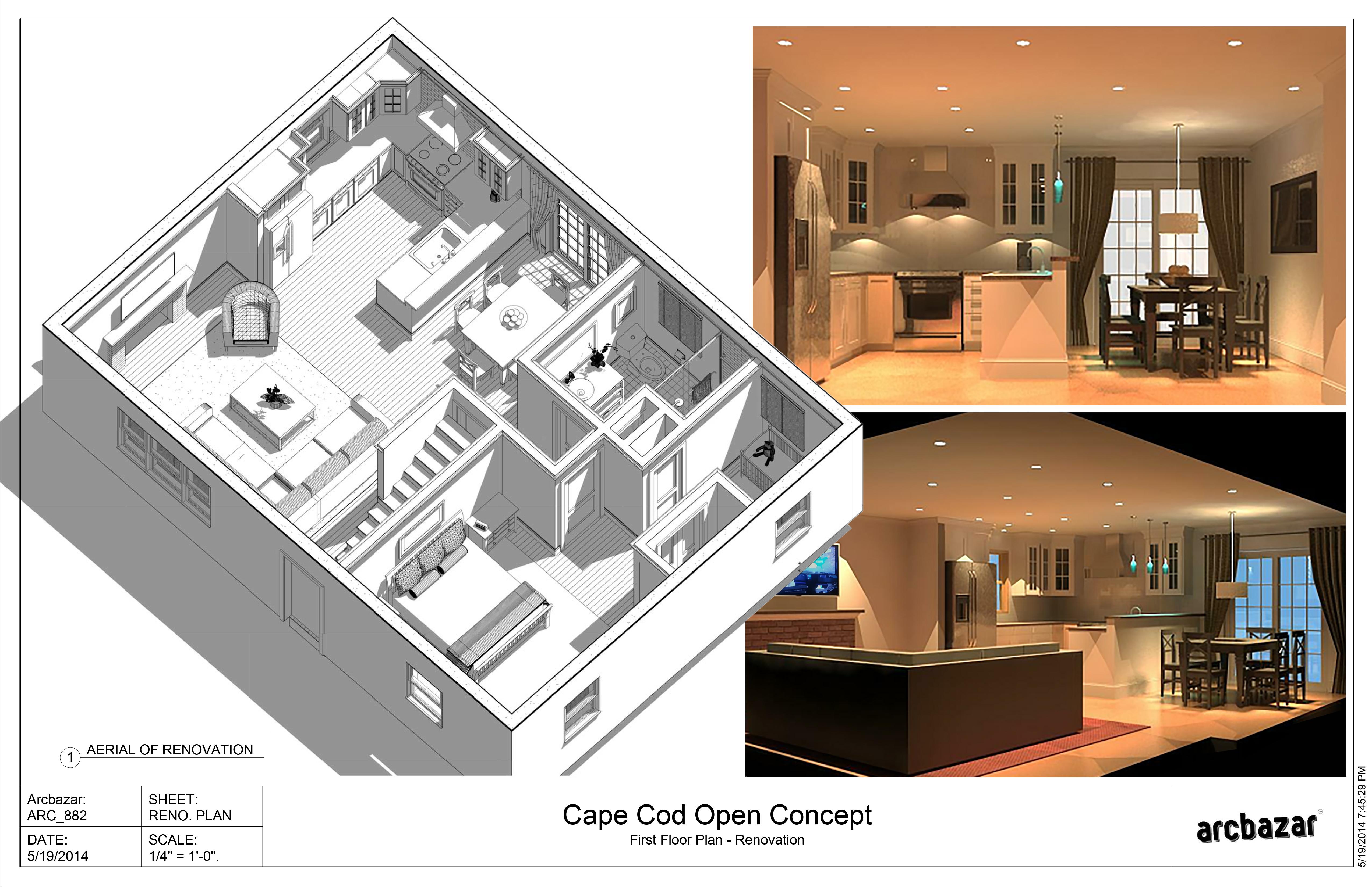 ... Chomick, AIA - 1st Floor Cape Cod Open Concept - Boston, US | Arcbazar