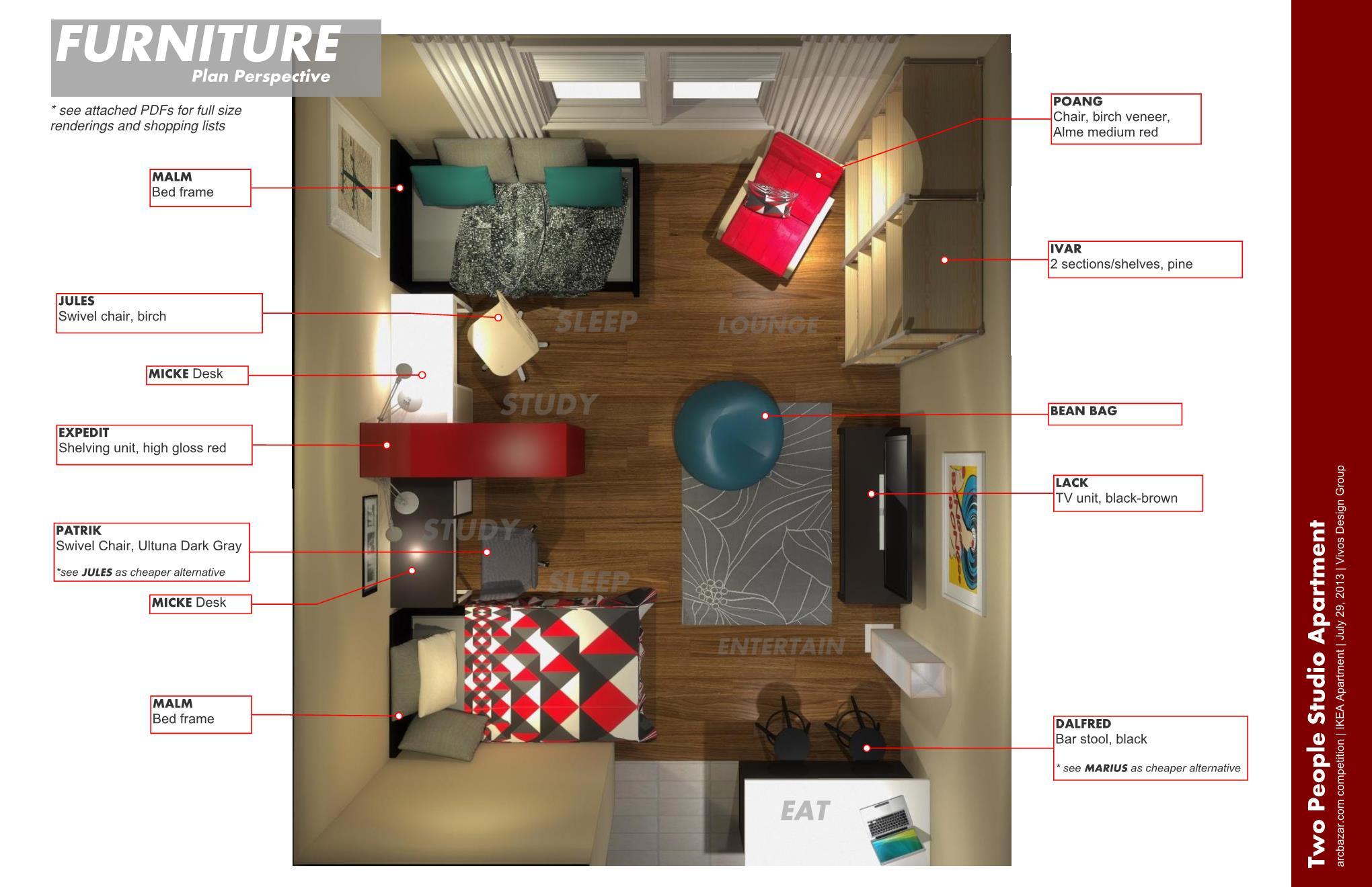apartment design designed by vivos design group ikea apartment skillman us arcbazar. Black Bedroom Furniture Sets. Home Design Ideas