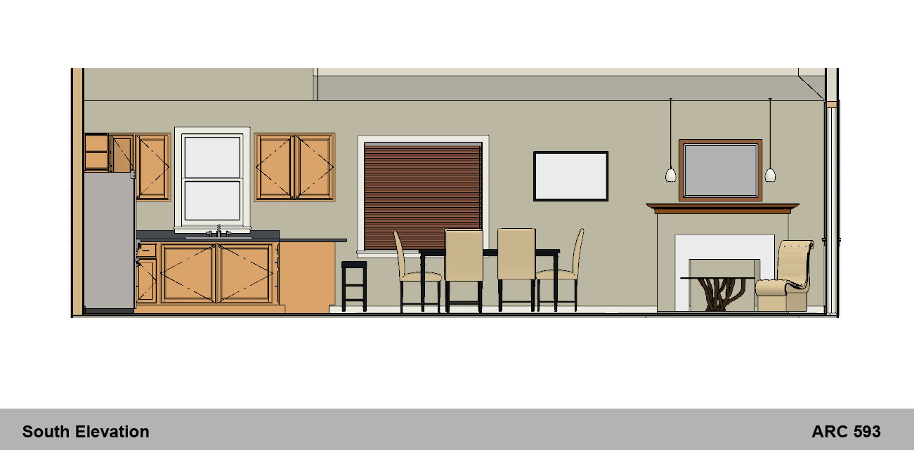 dining table plan elevation section