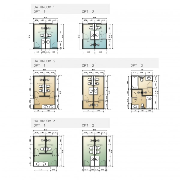 3 bathrooms - layout