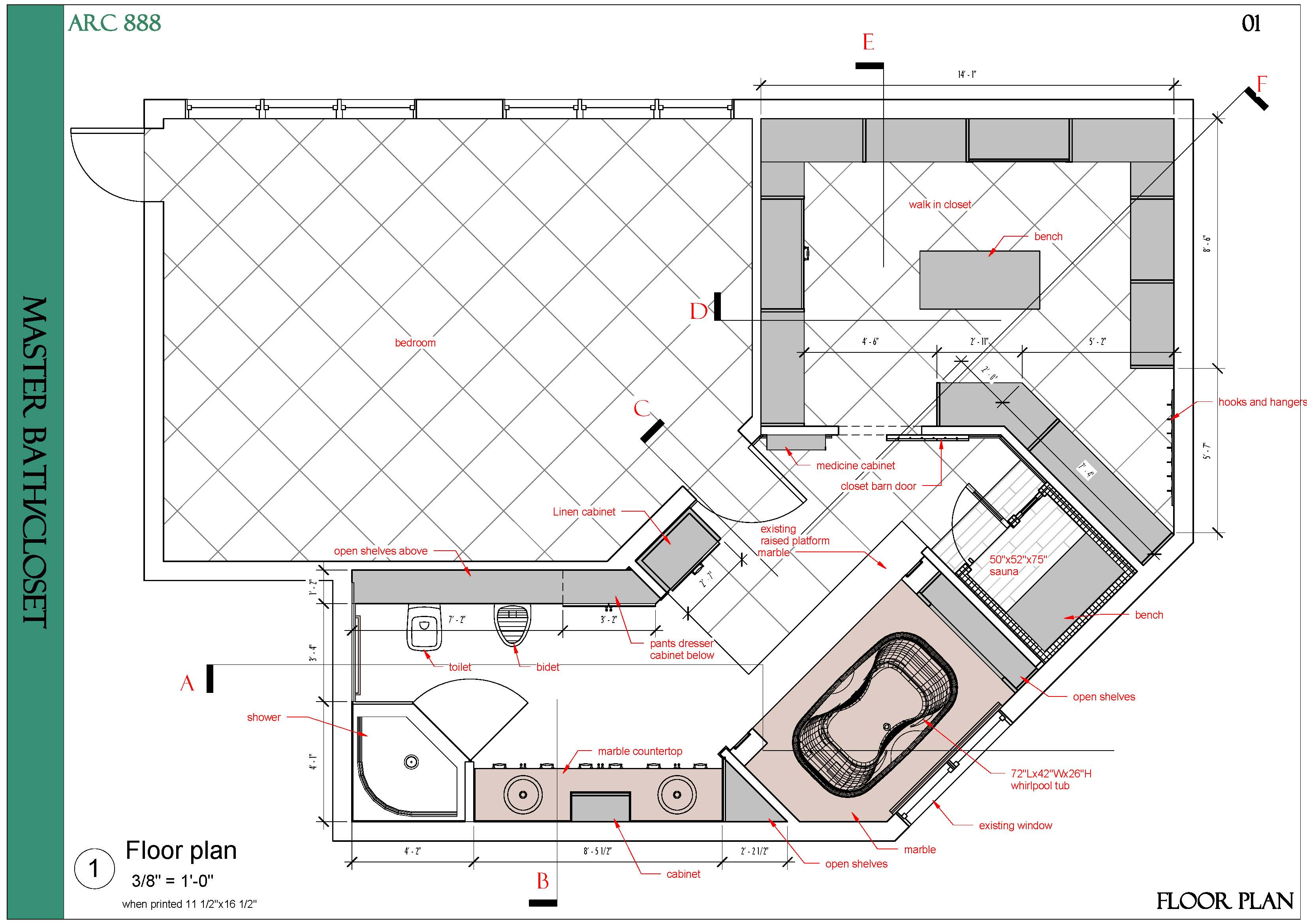 Viewdesignerproject projectbathroom design for Master closet and bathroom layouts