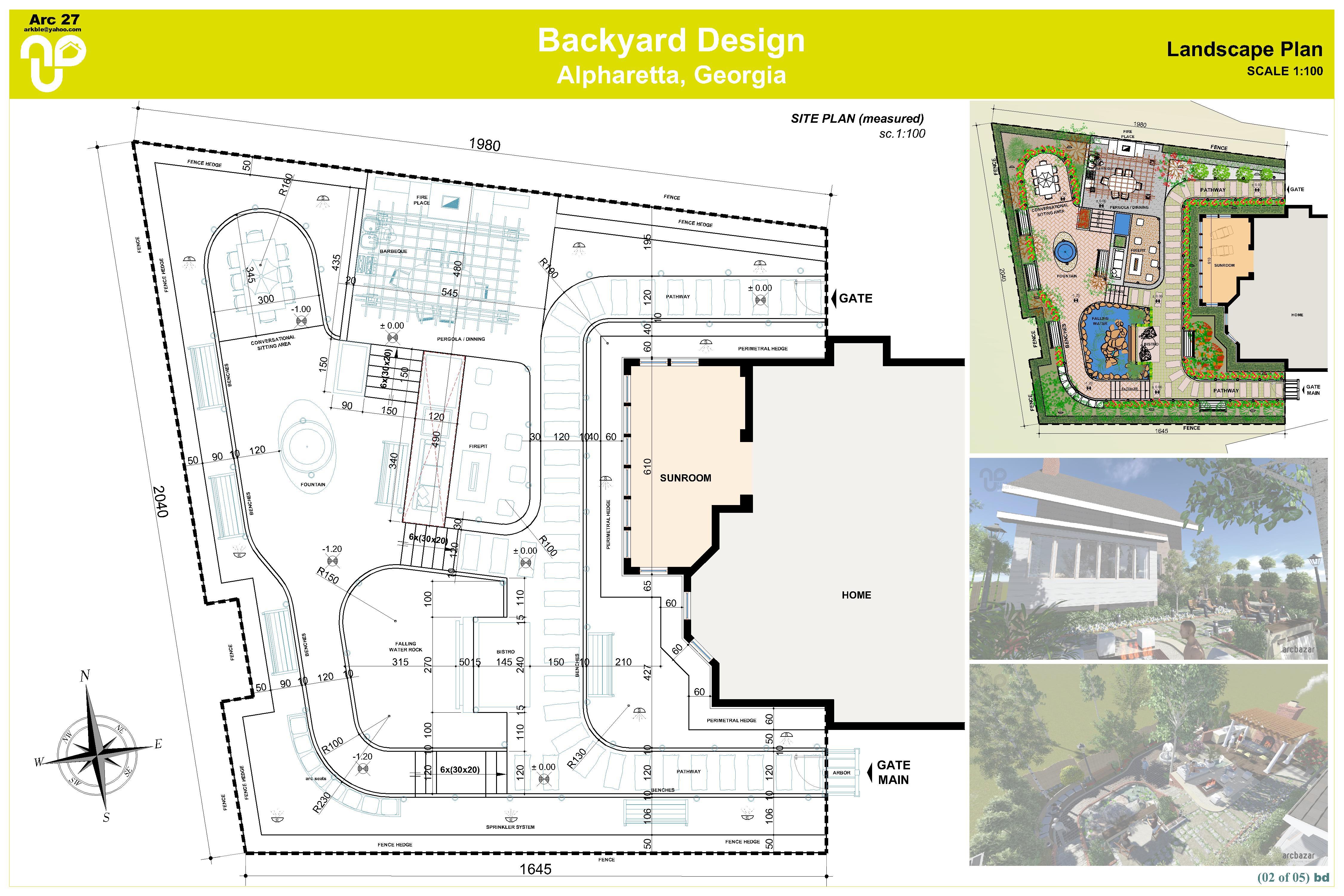 Backyard design designed by a bd architects backyard for Landscape design layout