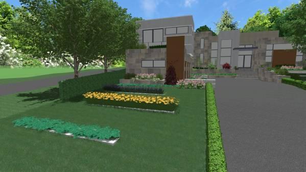 Front yard back yard designed by deni 39 s gardening for Pool design kitchener