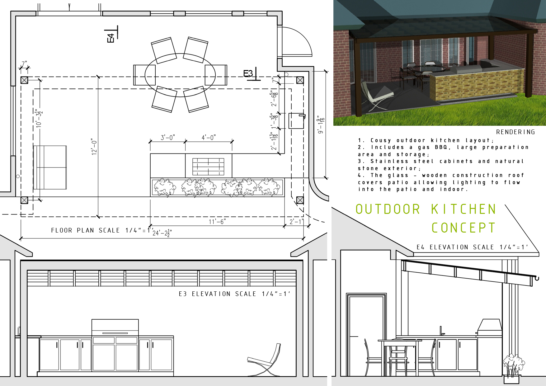 Kitchen Plan Elevation And Section : Outdoor indoor kitchen designs home