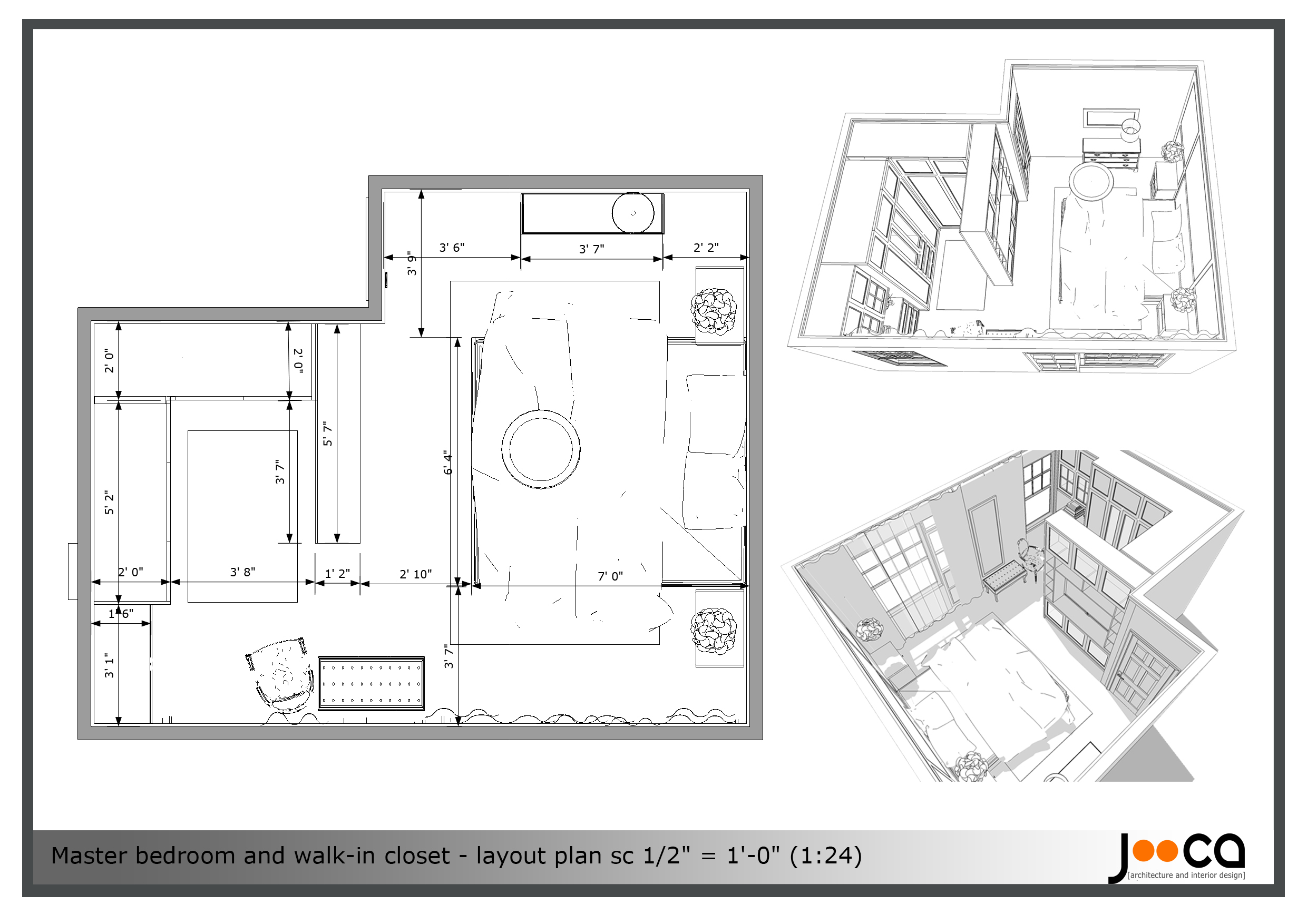 Viewdesignerproject projectbedroom design for Walk in closet dimensions