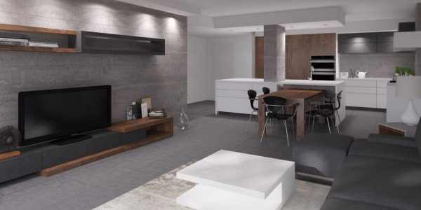 Image open kitchen + living ...