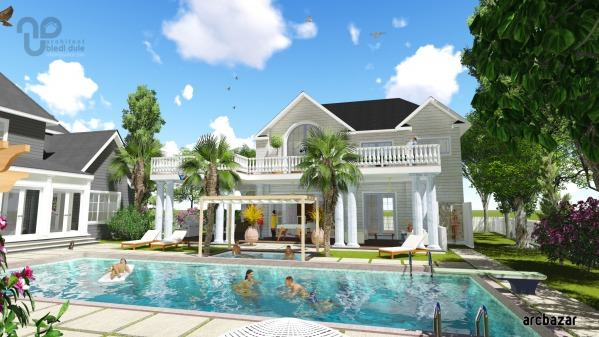 Image Craftsman pool house a...
