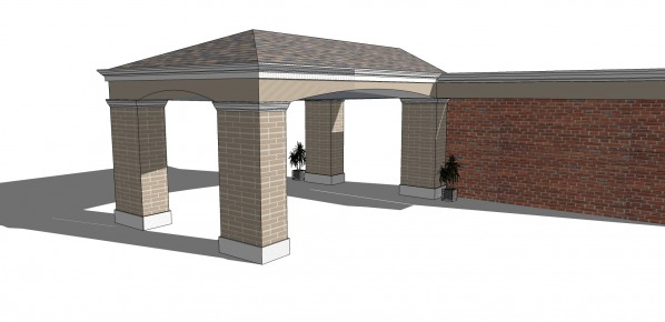 Two existing brick col...