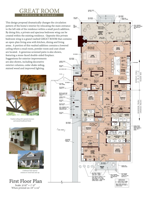 Floor plans project designed by adam j green architect for Great room addition floor plans
