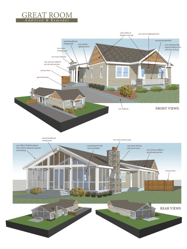 Floor plans project designed by adam j green architect for Great room addition plans