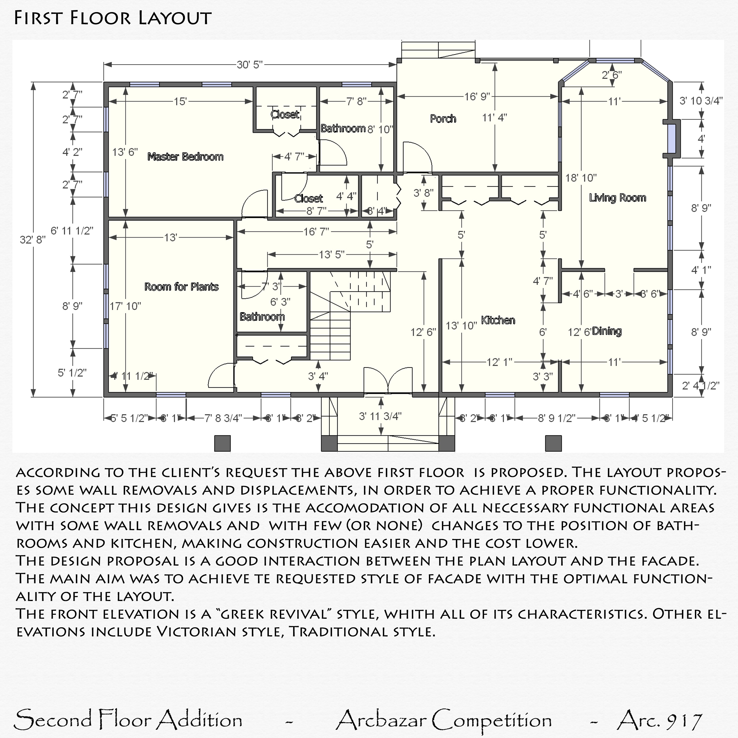 Additions plans designed by edlira koleci oku second for Second floor addition floor plans