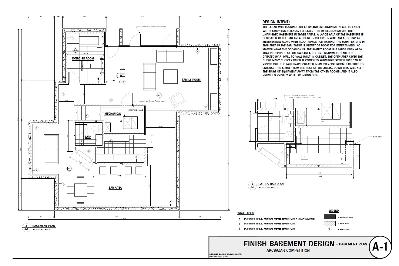 Smart placement basement finishing floor plans ideas for Free finished basement plans