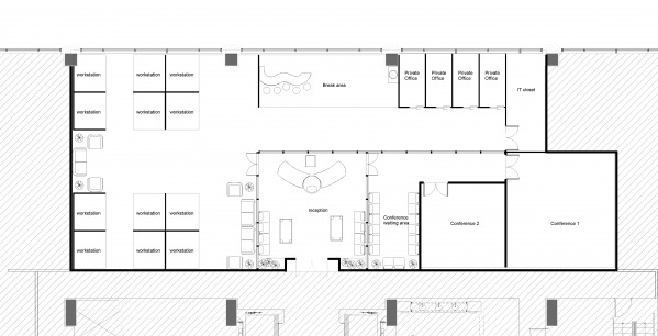 Plan layout of the office