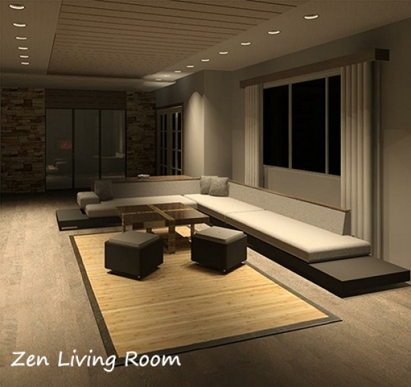 Zen style living room for Contemporary zen interior design