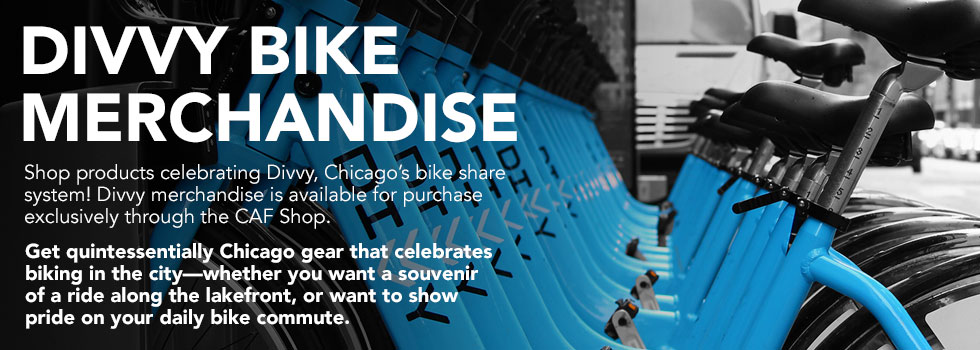 Shop products celebrating Divvy, Chicago's bike share system! Available exclusively at the CAF shop.