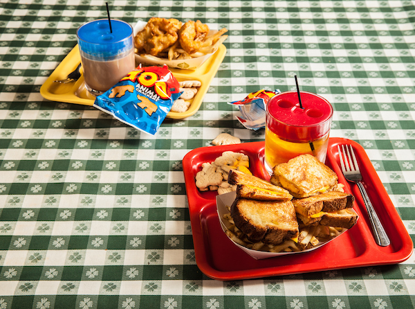 The kid's meals at R.J. Grunts on their tablecloth